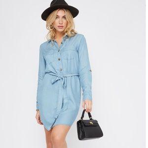 Chambray  Denim Button- Up Shirt Dress